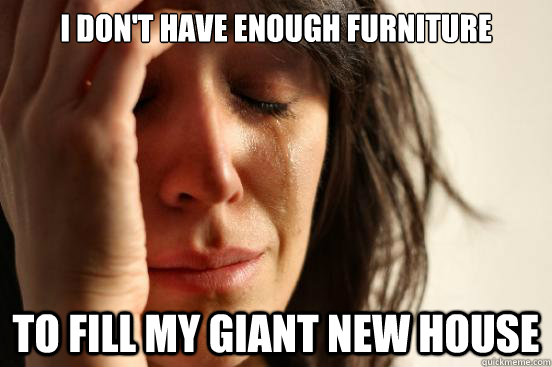i dont have enough furniture to fill my giant new house - First World Problems