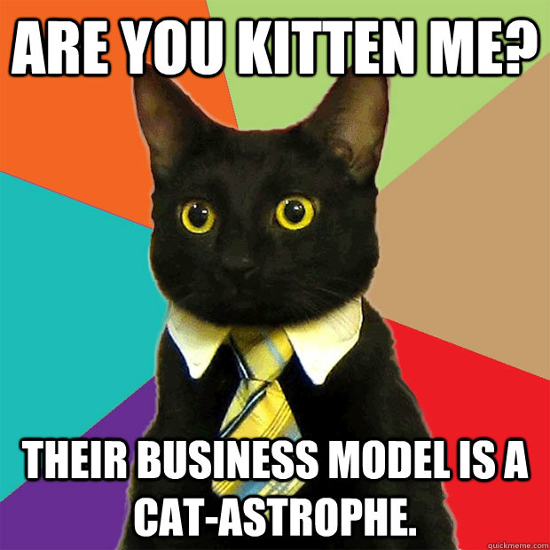 are you kitten me their business model is a catastrophe - Business Cat