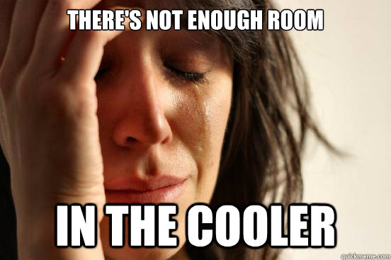 theres not enough room in the cooler - First World Problems