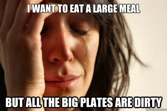 i want to eat a large meal but all the big plates are dirty - First World Problems