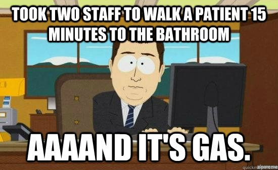 took two staff to walk a patient 15 minutes to the bathroom  - aaaand its gone