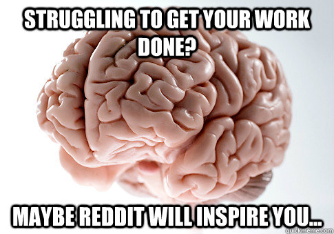 struggling to get your work done maybe reddit will inspire  - Scumbag Brain