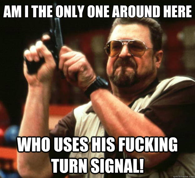 am i the only one around here who uses his fucking turn sign - Big Lebowski