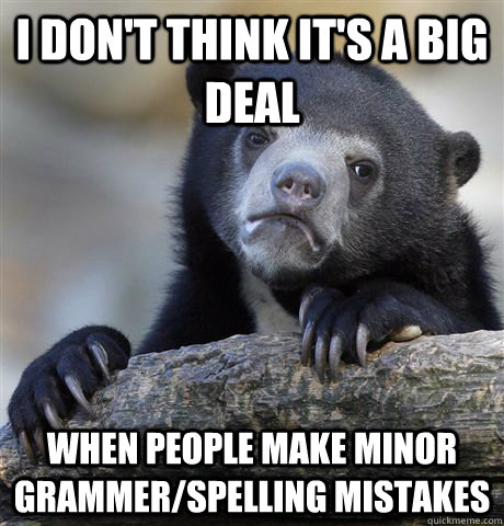 i dont think its a big deal when people make minor grammer - Confession Bear
