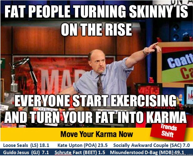 Fat people turning skinny is on the rise Everyone start exer - Jim Kramer with updated ticker