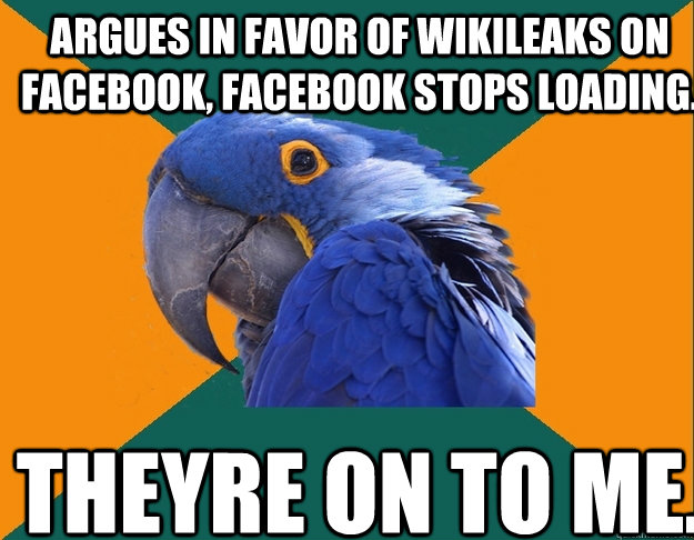argues in favor of wikileaks on facebook facebook stops loa - Paranoid Parrot