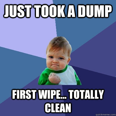 just took a dump first wipe totally clean - Success Kid