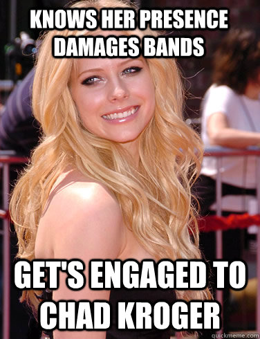 knows her presence damages bands gets engaged to chad kroge -