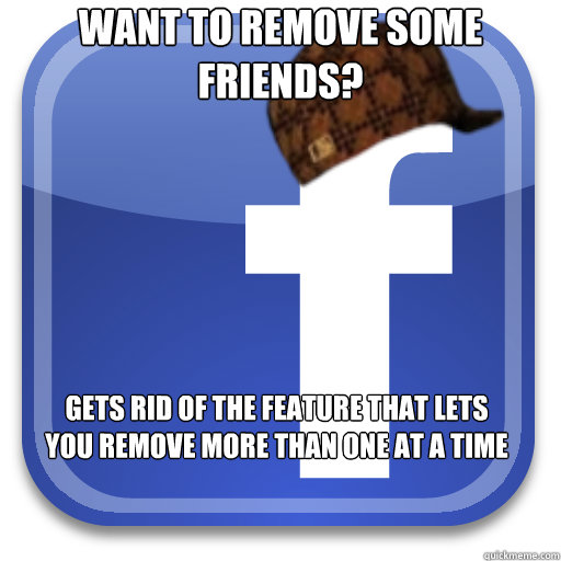 want to remove some friends gets rid of the feature that le - Scumbag Facebook