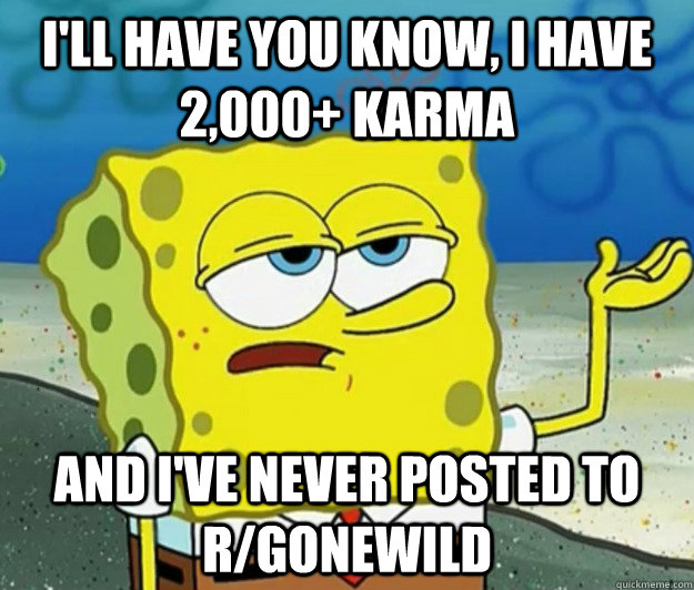 ill have you know i have 2000 karma and ive never post - Tough Spongebob