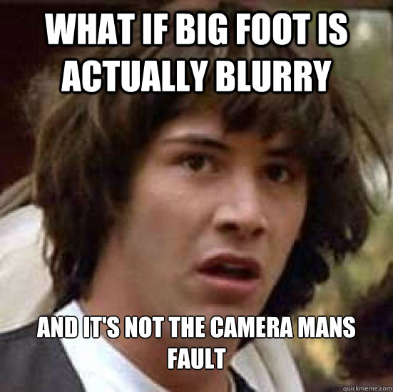 what if big foot is actually blurry and its not the camera  - Conspiracy Keanu Snow