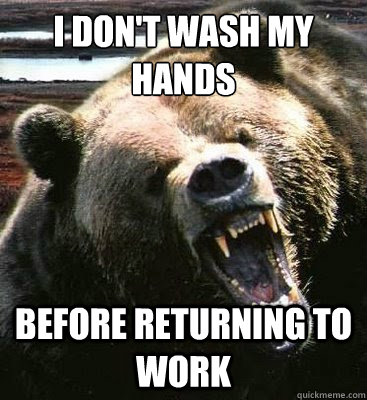 i dont wash my hands before returning to work - Insanity Bear