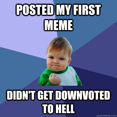 posted my first meme didnt get downvoted to hell - Success Kid
