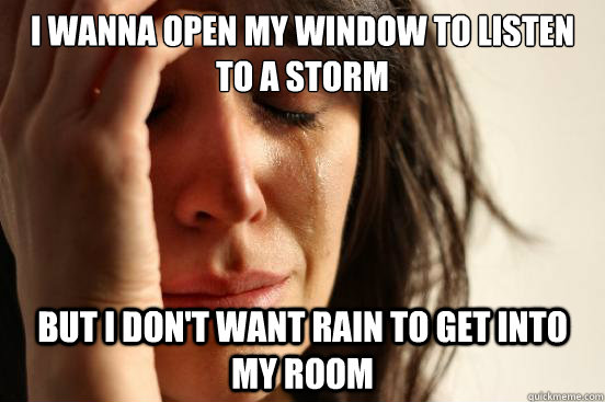i wanna open my window to listen to a storm but i dont want - First World Problems