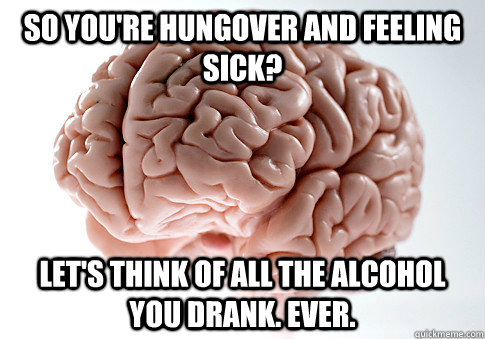 so youre hungover and feeling sick lets think of all the  - Scumbag Brain