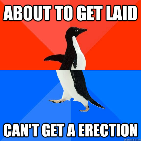 about to get laid cant get a erection - Socially Awesome Awkward Penguin