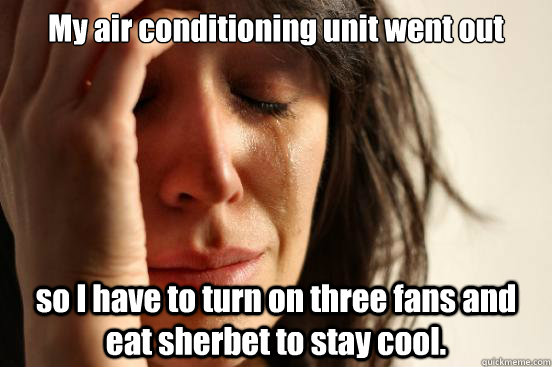 my air conditioning unit went out so i have to turn on three - First World Problems