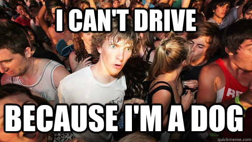 i cant drive because im a dog - Sudden Clarity Clarence