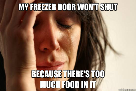my freezer door wont shut because theres too much food in  - First World Problems