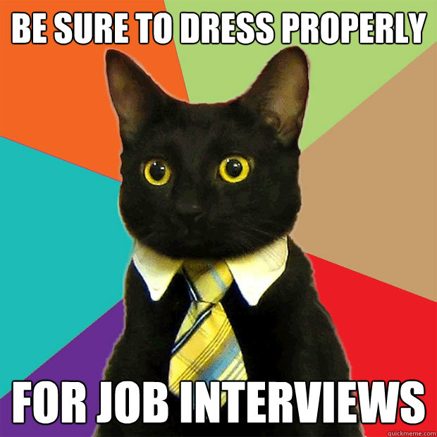 be sure to dress properly for job interviews - Business Cat