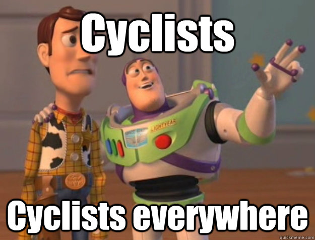 cyclists cyclists everywhere - Buzz Lightyear
