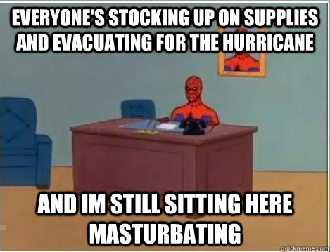 everyones stocking up on supplies and evacuating for the hu - Spiderman Desk