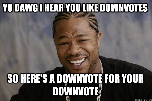 yo dawg i hear you like downvotes so heres a downvote for y - Xzibit meme
