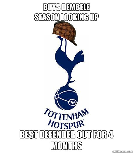 buys dembele season looking up best defender out for 4 month - Scumbag THFC