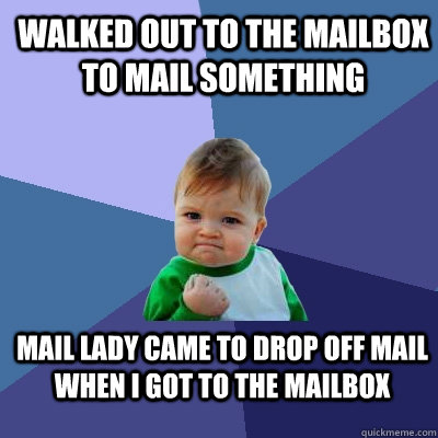 walked out to the mailbox to mail something mail lady came t - Success Kid