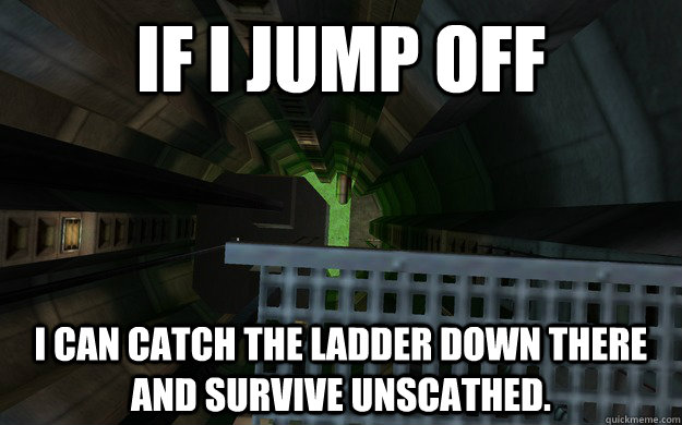 if i jump off i can catch the ladder down there and survive  -