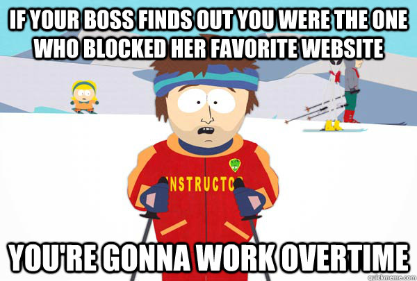 if your boss finds out you were the one who blocked her favo - Super Cool Ski Instructor