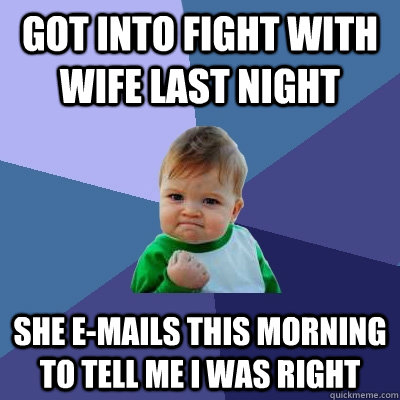 got into fight with wife last night she emails this morning - Success Kid