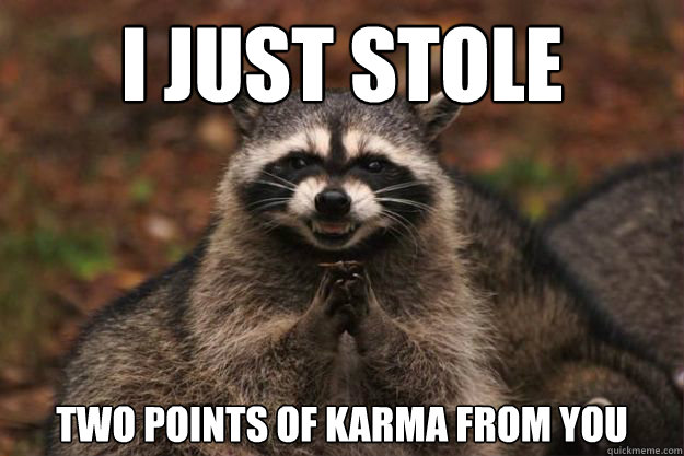 i just stole two points of karma from you - Evil genius racoon
