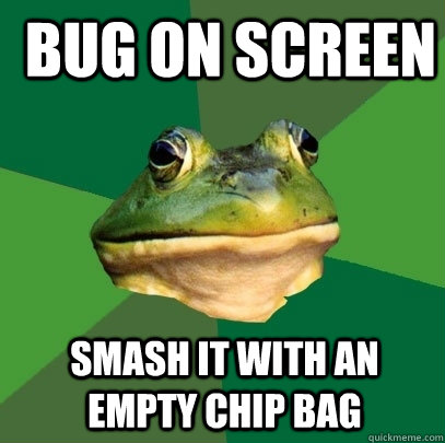 bug on screen smash it with an empty chip bag - Foul Bachelor Frog