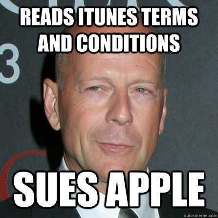 reads itunes terms and conditions sues apple - Good Guy Bruce