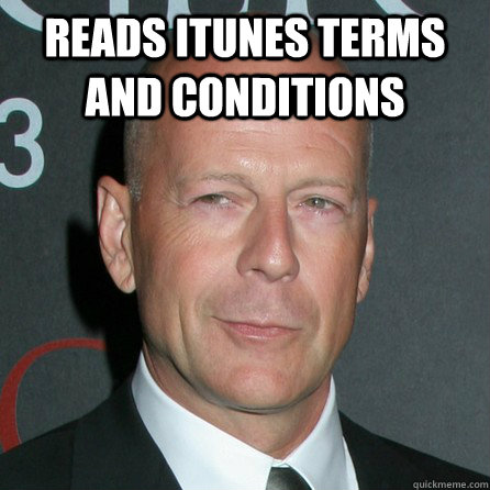 reads itunes terms and conditions  - Good Guy Bruce