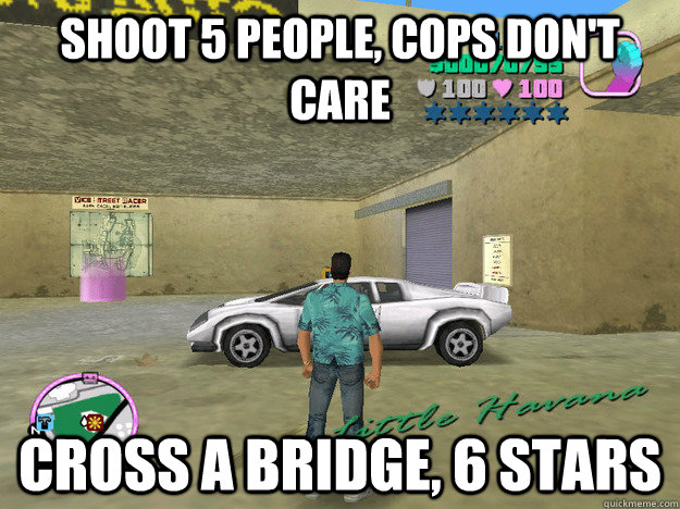 shoot 5 people cops dont care cross a bridge 6 stars - GTA LOGIC
