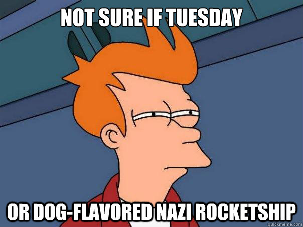 not sure if tuesday or dogflavored nazi rocketship - Futurama Fry