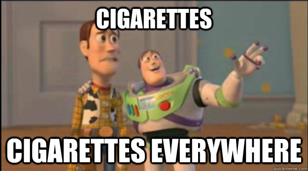 cigarettes cigarettes everywhere - buzz and woody