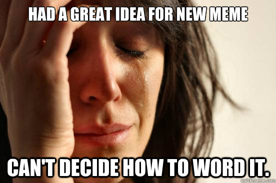 had a great idea for new meme cant decide how to word it - First World Problems