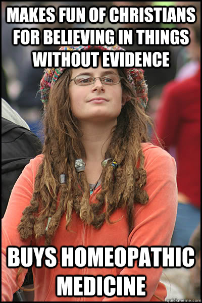 makes fun of christians for believing in things without evid - College Liberal