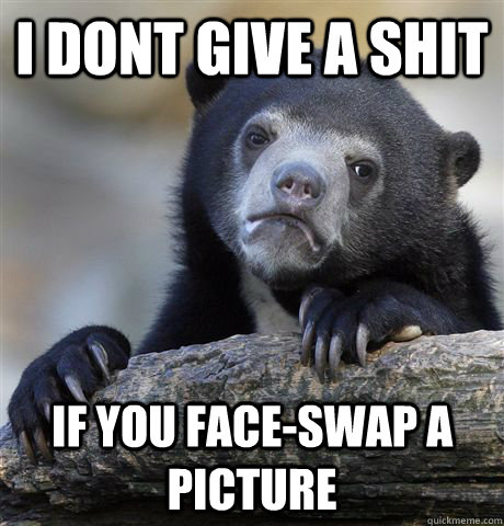 i dont give a shit if you faceswap a picture - Confession Bear