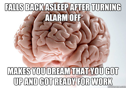 falls back asleep after turning alarm off makes you dream th - Scumbag Brain