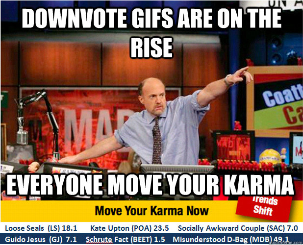 downvote gifs are on the rise everyone move your karma  - Jim Kramer with updated ticker