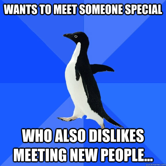 wants to meet someone special who also dislikes meeting new  - Socially Awkward Penguin