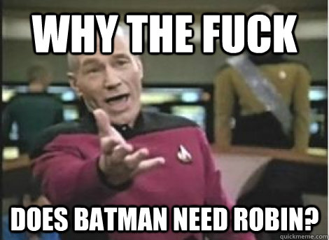 why the fuck does batman need robin - ANNOYED PICARD