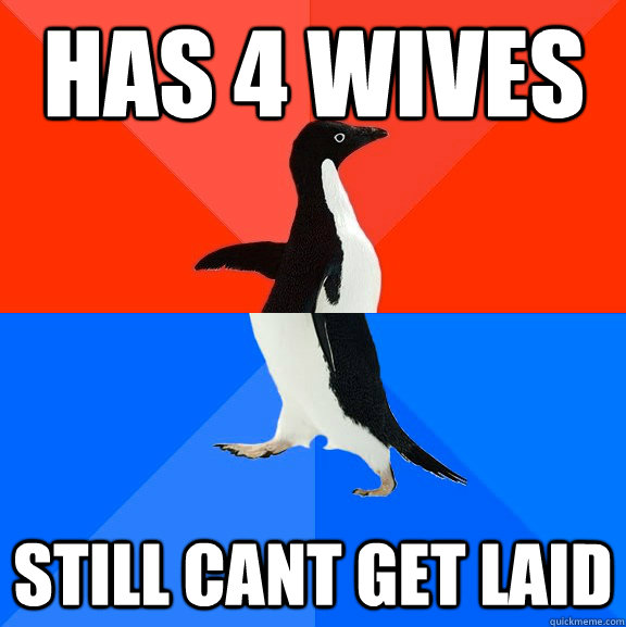 has 4 wives still cant get laid - Socially Awesome Awkward Penguin