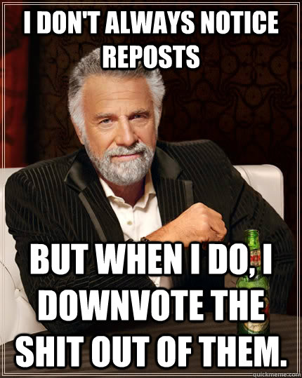 i dont always notice reposts but when i do i downvote the  - The Most Interesting Man In The World