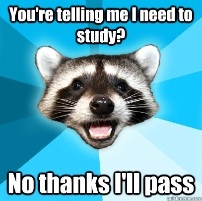 youre telling me i need to study no thanks ill pass - Lame Pun Coon