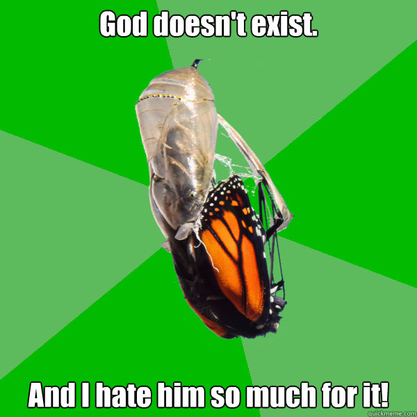 god doesnt exist and i hate him so much for it - Transitional Atheist Butterfly